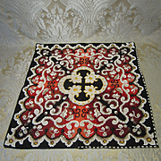 Vivid Antique Beaded Needlepoint Rug for Doll Display