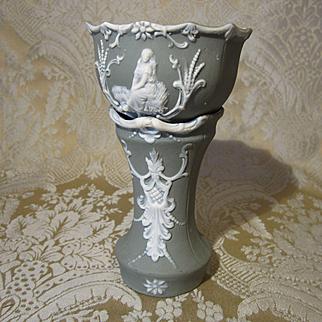 Miniature Antique Jasperware Jardiniere for Doll Display