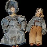 Miniature Pair of Grodnertal Wooden Dolls - 1830's - in Original Clothing