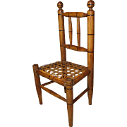 Miniature Antique Faux Bamboo Caned Chair for French Fashion or Other Doll