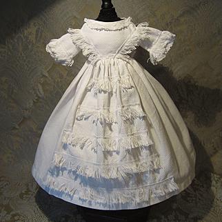 Genuine Period White Pique Mode Enfantine Gown for French Fashion - Huret/Rohmer Era