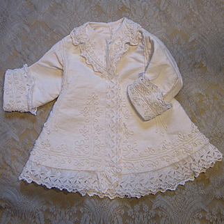 White Pique and Soutache Dress for Large French Bebe