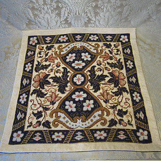 Handsome Beaded Rug For Antique Doll Display