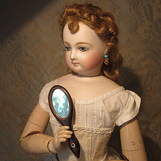 Very Fine Mahogany Hand Mirror for French Fashion