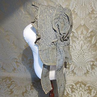 Antique American Homespun Prairie Folk Bonnet - Izannah Walker?
