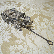 Antique Miniature Silver Filigree Carriage to Display Tiny Dolls - Carl Horn?