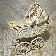 Miniature Painted Metal Doll Carriage for Small Dolls - Antique