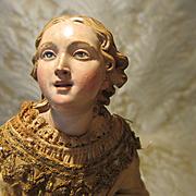 "Neapolitan Creche Figure - Girl, 9 1/2"" - Authentic Period Antique"
