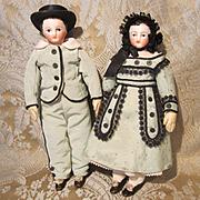 "Superb Pair of 8"" FG French Bisque Shoulderhead Dolls - Kid bodies"