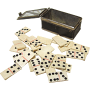 Set of Miniature Dominoes for French Fashion in Glass and Metal Box