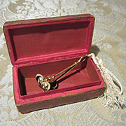 14K Gold Skirt Lifter in Leather Box for French Fashion - Antique Miniature