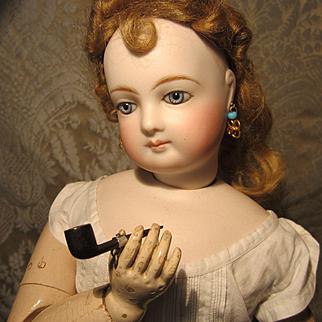 Antique Miniature Pipe - Bog Oak - For French Fashion Gentleman