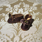 Genuine Antique Mignonette Slippers in Bronze Kid