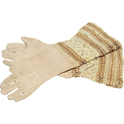 Silk Knit Gloves - Antique - for French Fashion Doll