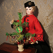 """Miniature Christmas Feather Tree - Antique, Decorated - 10"""" - #1"""
