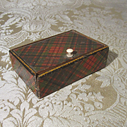Antique Tartanware Stamp Box - Accessory Box for French Fashion