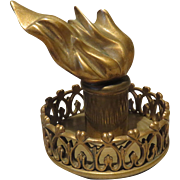 Extraordinary Statue of Liberty Torch Bronze Paperweight Desk Accessory - Antique French