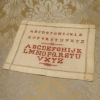 Miniature Sampler - Red on Linen - Alphabets