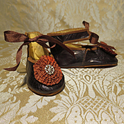 Extra-fine Pair of French Bebe Shoes w/Rosettes - Size 11