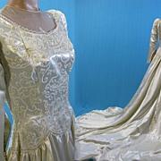 Vintage Wedding gown dress 1940's Satin w beaded bodice