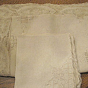 "Vintage linen tablecloth cutwork lace and napkins 84""X 66""  B1693"