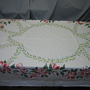 Vintage 50's Floral linen Tablecloth bright Colors border design C6
