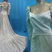 Vintage wedding gown bridal dress 1960s silk Juliet styling