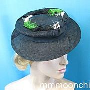 Vintage hat 1940s tilt top w feather trim