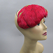 Vintage 50s feather hat 1950s Coral tilt hat