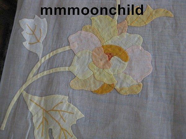Vintage sheer applique tablecloth cotton organdy w Leaf design 107 X 70  B1831