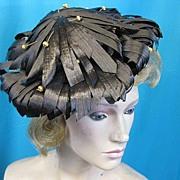 Vintage dos tilt hat 1950s straw high style