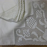 Vintage white tablecloth napkin set Early 20C era fillet lace B1995