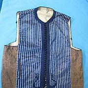 Antique mens waistcoat hand sewn silk linen flax late 18C