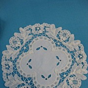Antique Victorian  lace doily set 11pc Princess Battenberg handmade lace  B2687
