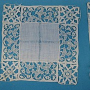 Antique Victorian needle lace doily set 12 pc cocktail size