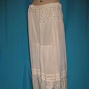 Antique Edwardian silk slip w fillet lace insertions