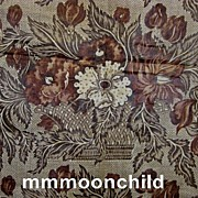 Antique fabric early linen chintz rose motif 18C