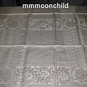 Vintage tablecloth rayon damask 1920s 56 X 51