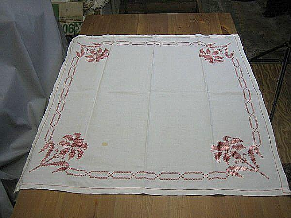 Vintage 40s red cross stitch linen tablecloth topper 32 X 31