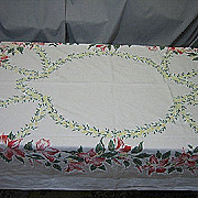 Vintage 50s mid century linen floral tablecloth   66 X 53