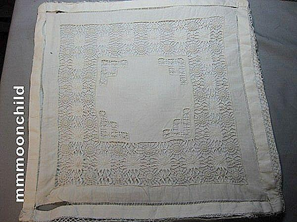 Vintage lace pillow case sham drawn work early 20th century B1283
