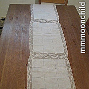 Vintage lace runner linen w open work 52 X 11 B1369