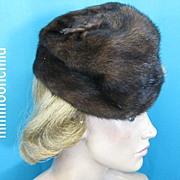 Vintage 40s mink fur tilt hat 1940s brown tilt style