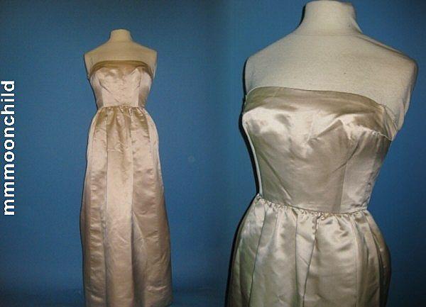 B2485 Vintage wedding gown bridal dress silk 1960s
