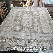 Vintage tablecloth Filet lace handmade 64 X 84  B910