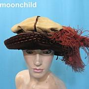 Vintage Toque hat Edwardian era w feather trim