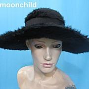 Vintage hat Edwardian era Beaver w large brim