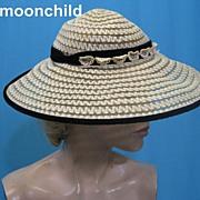 Vintage 40s sun hat tilt w horsehair braid w velvet