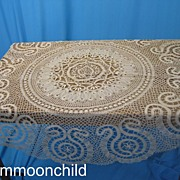 Antique Lace Tablecloth Handmade Czechoslovakian bobbin lace