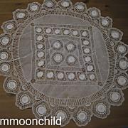 Vintage round doily large Handmade Algerian Needlelace